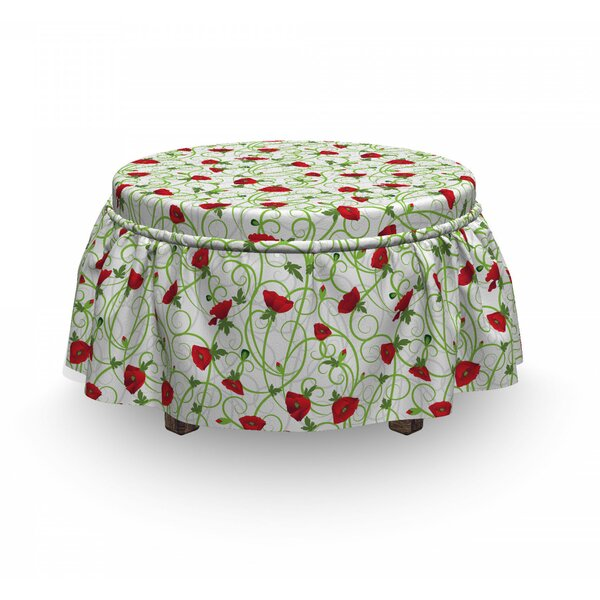 Twiggy Poppy Flowers Ottoman Slipcover (Set Of 2) By East Urban Home
