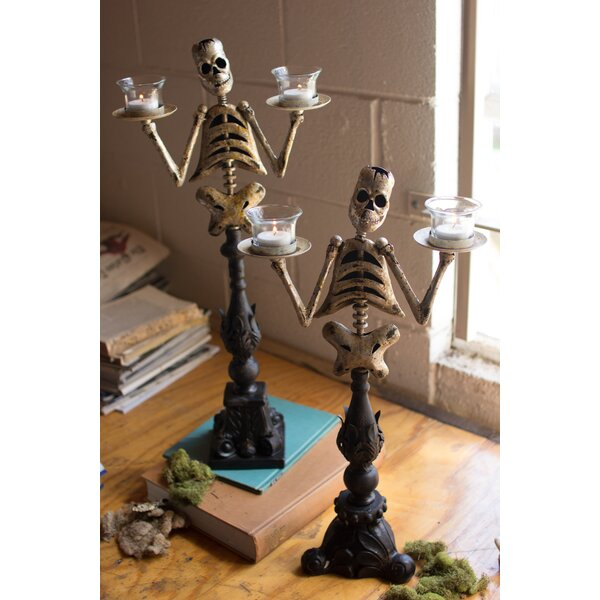 Skeleton 2 Piece Metal Tealight Set by The Holiday Aisle