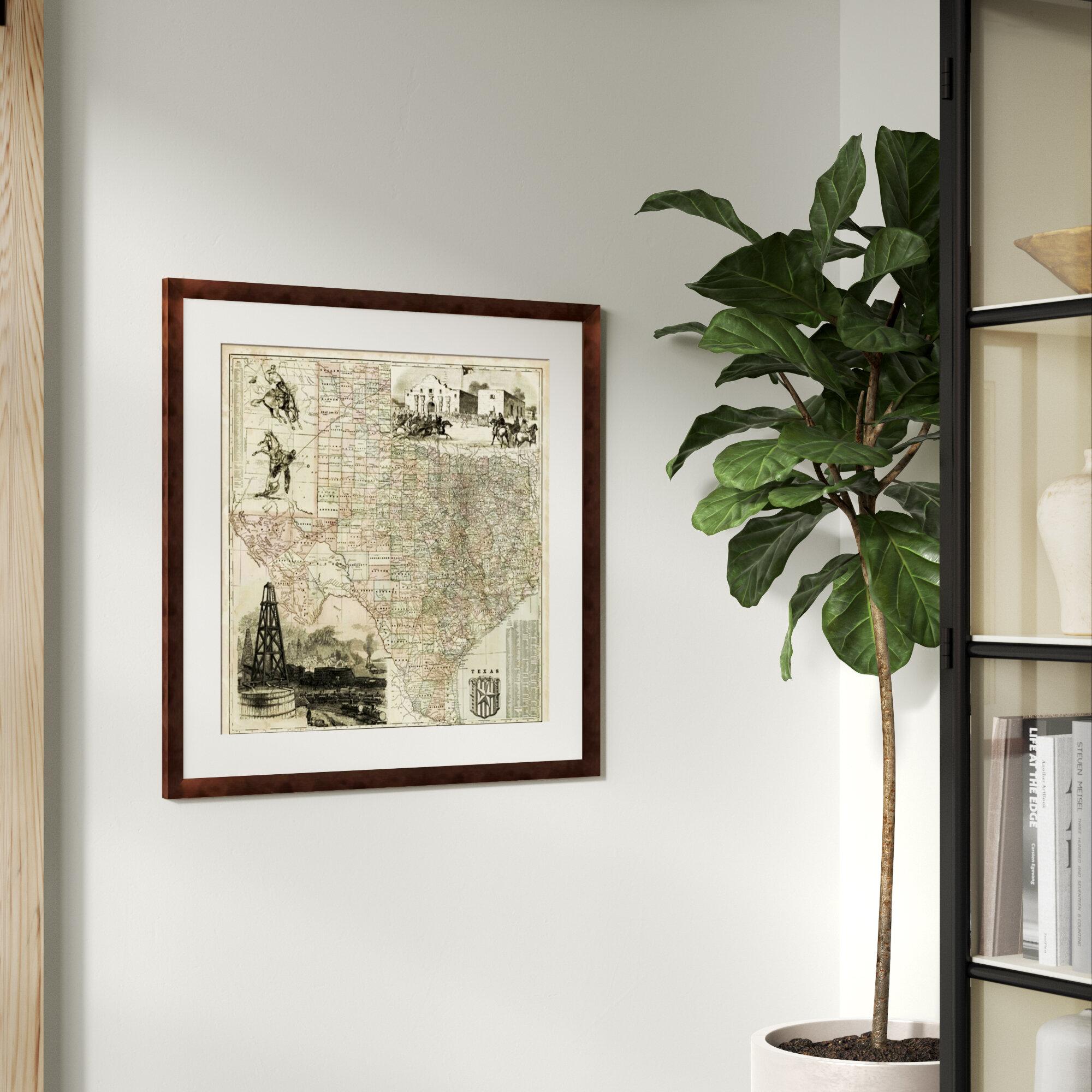 Greyleigh \'Map of Texas\' Framed Graphic Art Print   Wayfair