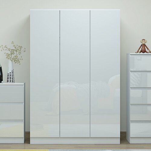 Braeburn 3 Door Wardrobe Metro Lane Finish: White Gloss