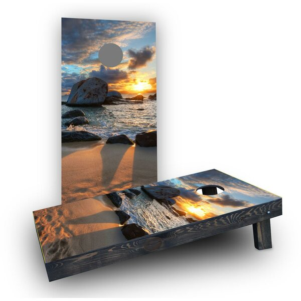Sunset on the Beach Cornhole Boards (Set of 2) by Custom Cornhole Boards