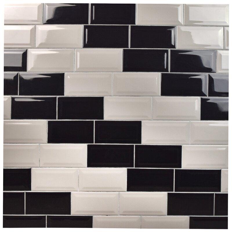 Elitetile Prospect 3 X 6 Beveled Ceramic Subway Tile In Black