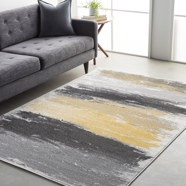 Shuff Gray/Yellow Area Rug by Wrought Studio