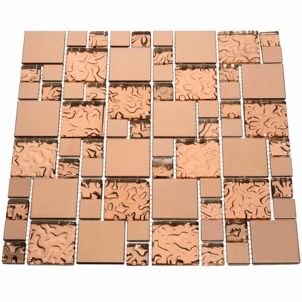 Venetian Random Sized Glass and Aluminum Mosaic Tile in Copper Goddess by Giorbello
