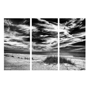 'Deserted Beach BlW' by Bruce Bain 3 Piece Photographic Print on Wrapped Canvas Set by Ready2hangart