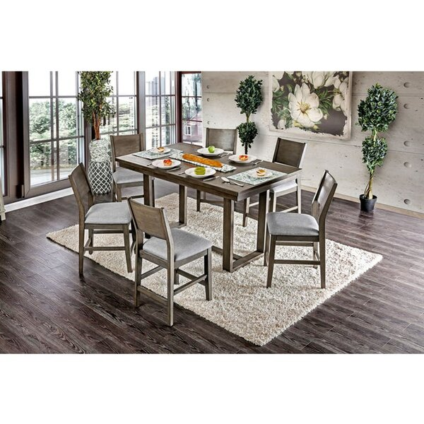Abena 7 Piece Counter Height Solid Wood Dining Set by Ebern Designs Ebern Designs