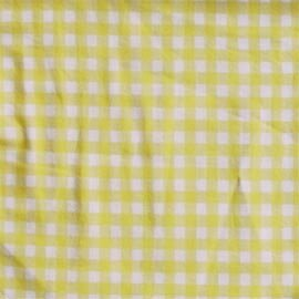 Yellow Pale And White Checks Bed Curtain Panels (Set Of 2)