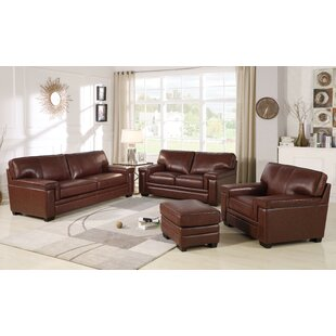 Ehmann 3 Piece Leather Living Room Set by DarHome Co