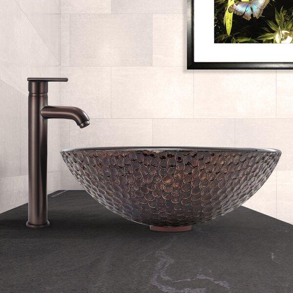 Shield Glass Circular Vessel Bathroom Sink with Faucet by VIGO