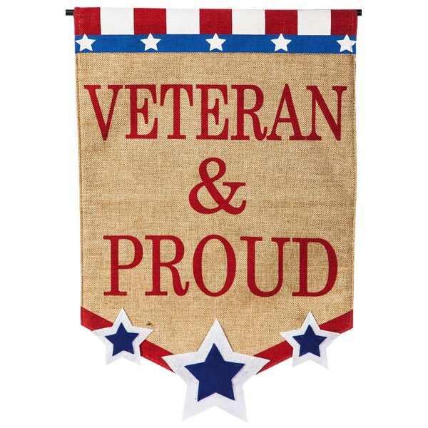 Veteran and Proud Garden Flag by Evergreen Enterpr