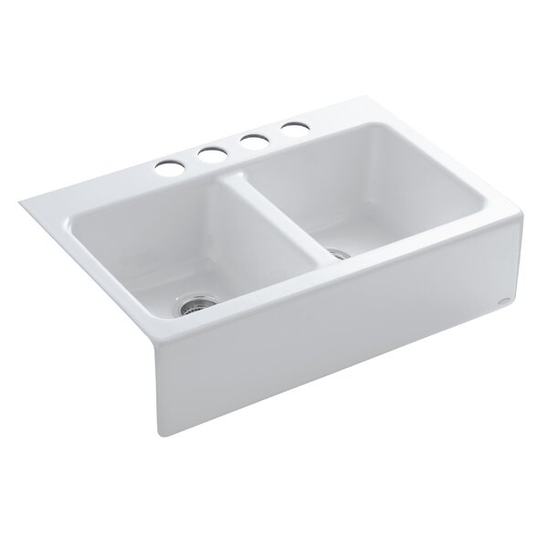 Hawthorne 33 L x 22-1/8 W x 8-3/4 Apron-Front Under-Mount Double-Equal Kitchen Sink with 4 Oversize Faucet Holes by Kohler