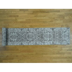 One-of-a-Kind Beare Undyed Hand-Knotted Runner 2'8 x 18' Wool Gray/White Area Rug by Isabelline