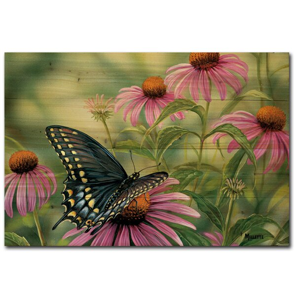 Black Swallowtail Butterfly Painting Print Plaque by WGI-GALLERY