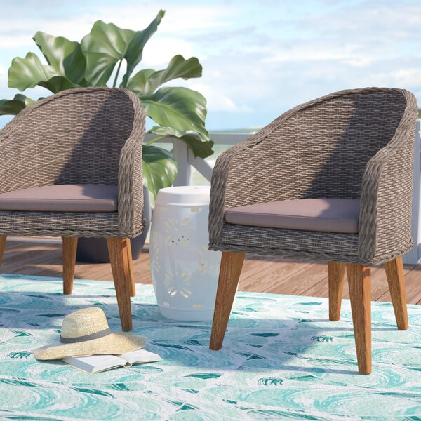 Elsmere Teak Patio Dining Chair with Cushion (Set of 2) by Beachcrest Home