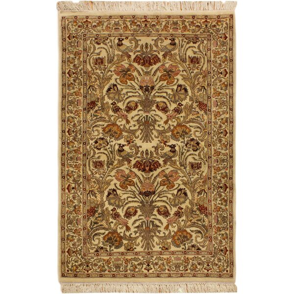 One-of-a-Kind Beacher Hand-Knotted Wool Ivory/Rust Area Rug by Canora Grey