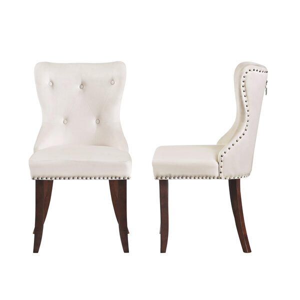 Oquinn Tufted Velvet Upholstered Wingback Parsons Chair in Beige (Set of 4) by Canora Grey Canora Grey
