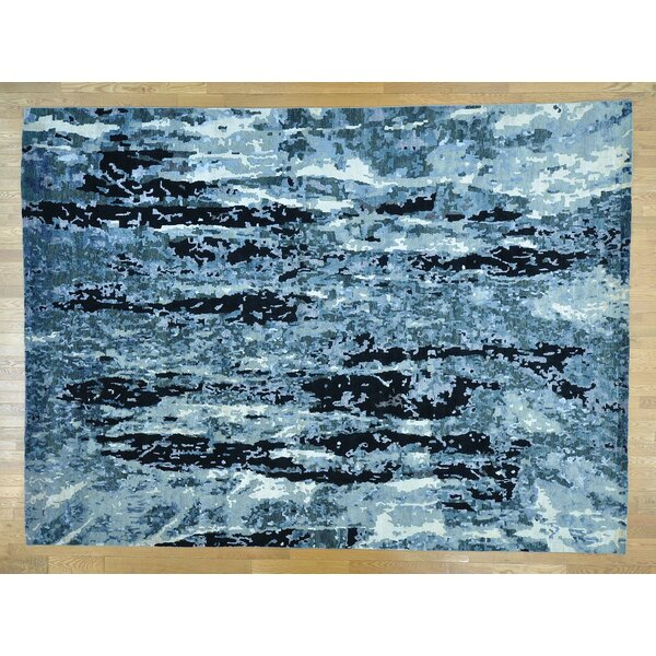 One-of-a-Kind Braddock Abstract Design Handwoven Wool/Silk Area Rug by Isabelline