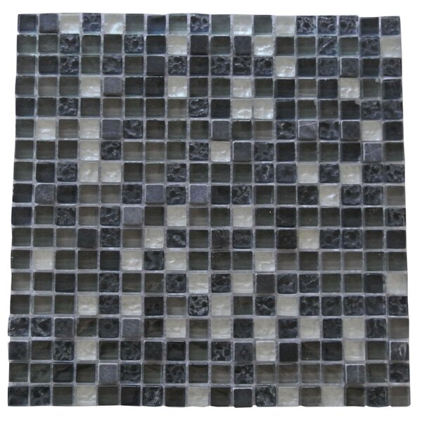 Quartz 0.63 x 0.63 Glass and Stone Mosaic Tile in Navy Blue by Abolos
