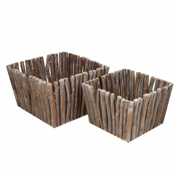 2 Piece Wooden Square Planter Box Set by Entrada