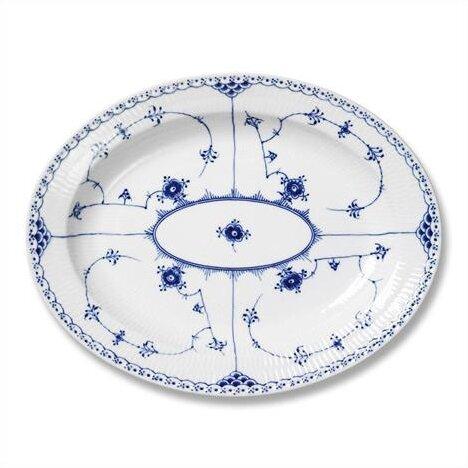 Blue Fluted Half Lace Oval Platter by Royal Copenhagen