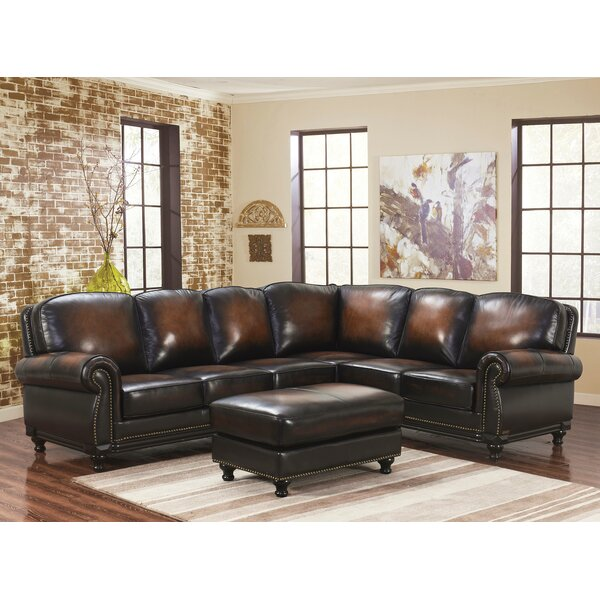 Chattanooga Leather Modular Sectional with Ottoman by Canora Grey