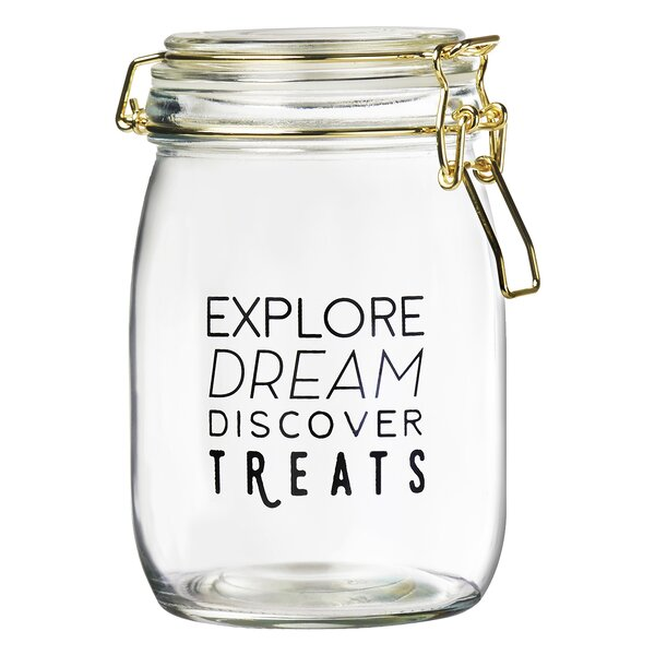 Wanderlust 1 qt. Pet treat jar by Global Amici