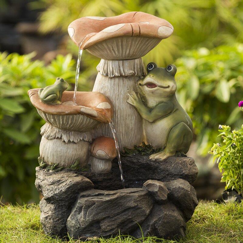 Frog Playing On Mushroom Water Fountain