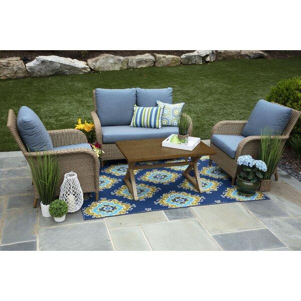 Bogdanovic 4 Piece Rattan Sunbrella Sofa Set with Cushions (Set of 4) by One Allium Way
