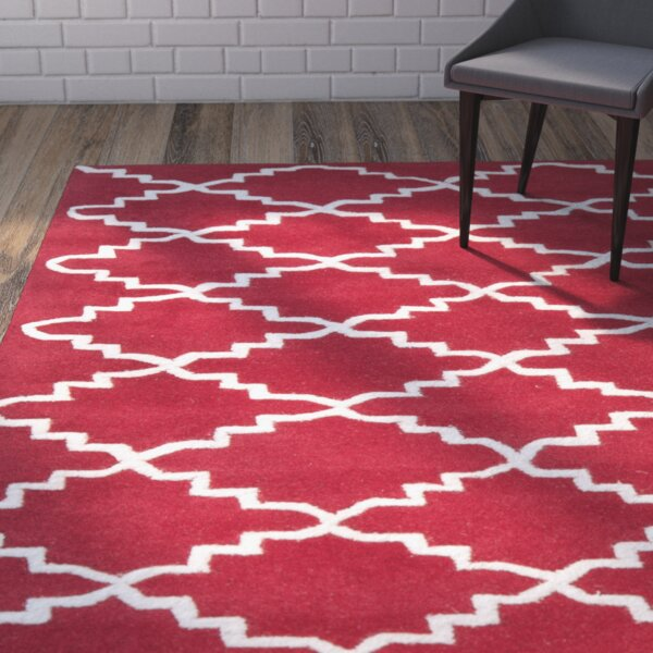 Wilkin Hand-Tufted Wool Red/Ivory Area Rug by Wrought Studio