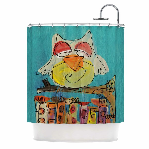 Carina Povarchik Urban Owl Teal Kid Shower Curtain by East Urban Home