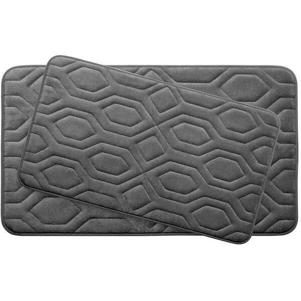 Turtle Shell Large 2 Piece Premium Micro Plush Memory Foam Bath Mat Set by Bath Studio