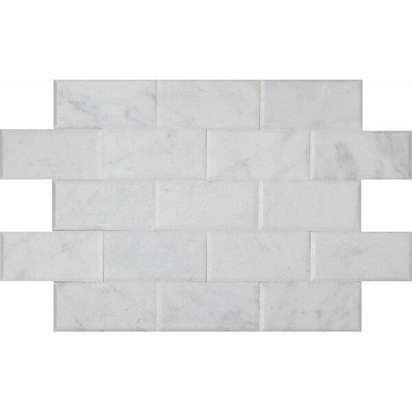 Milas 3 x 6 Marble Mosaic Tile in Bianco Venantino by Ephesus Stones