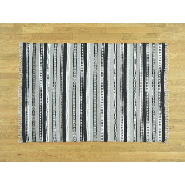 One-of-a-Kind Beckfield Reversible Striped Handmade Kilim Wool Area Rug by Isabelline