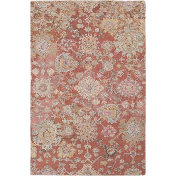 Kendall Green Vintage Floral Hand Hooked Wool Camel/Tan Area Rug by Bungalow Rose