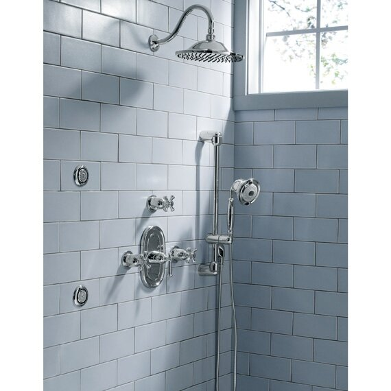Portsmouth Diverter Shower Faucet Trim Kit with Metal Cross Handle ...