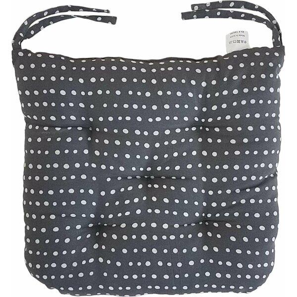 Melange 100% Cotton Round Square 16 x 16 Chair Cushions, Set of 12, Navy Polka Dot Print (Set of 12)