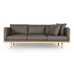 Carey Midcentury Genuine Leather Standard Sofa