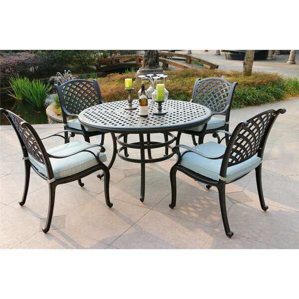Bakken Aluminum 5 Piece Dining Set with Cushions by Canora Grey