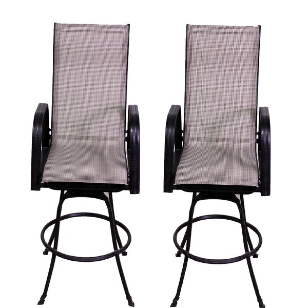 Betancourt Swivel 28.5 Patio Bar Stool (Set of 2) by Brayden Studio