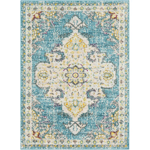Berry Blue/Beige Area Rug by Bungalow Rose