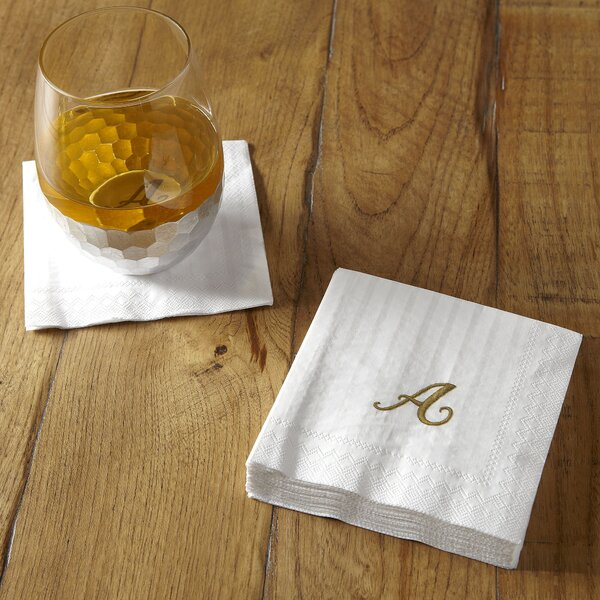 Monogrammed Cocktail Napkins (Set of 6) by Birch Lane™