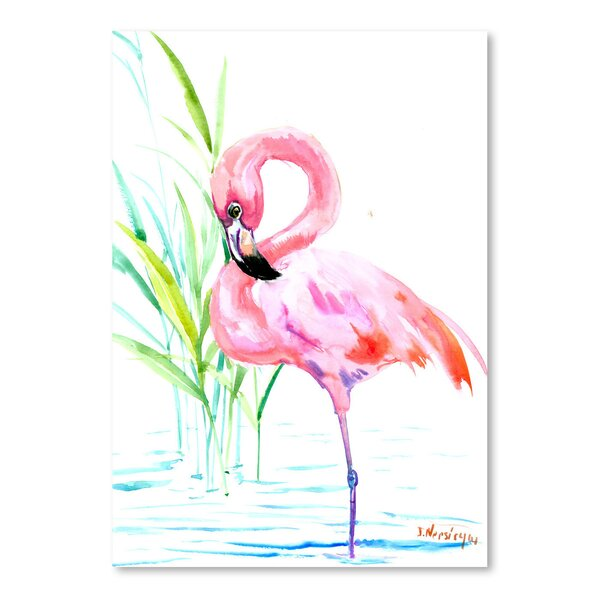 Flamingo Painting Print by Bay Isle Home