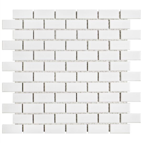 Marian 1 x 2 Porcelain Mosaic Tile in Glossy White by EliteTile