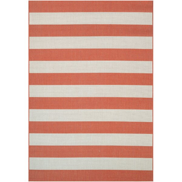 Tarpon Orange/Ivory Indoor/Outdoor Area Rug by Beachcrest Home