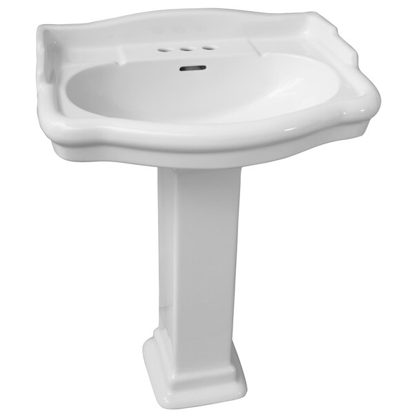 Stanford 550 Vitreous China Rectangular Pedestal Bathroom Sink with Overflow by Barclay