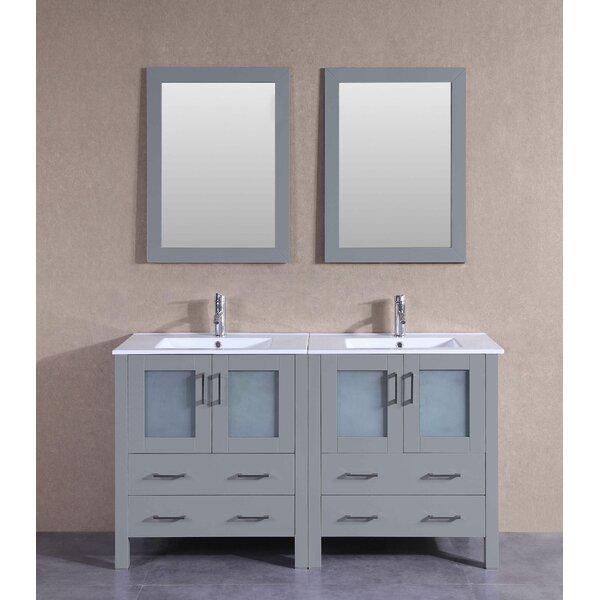 Victoria 60 Double Bathroom Vanity Set with Mirror by Bosconi