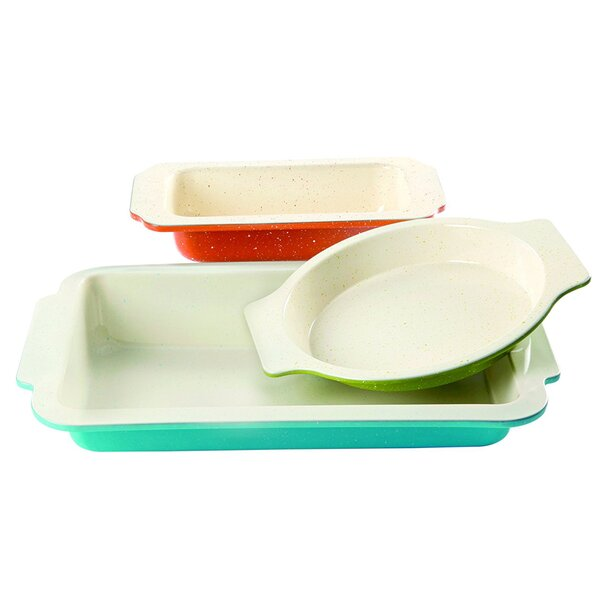 Gibson Home 3 Piece Non-Stick Imbue Bakeware Set by Colorsplash