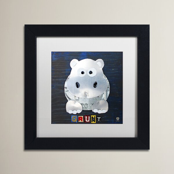 Wilbur Grunt The Hippo by Design Turnpike Matted Wood Framed Art by Zoomie Kids