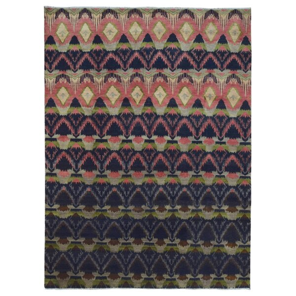 One-of-a-Kind Hand-Woven Rectangle Wool Navy/Peach Area Rug by Bungalow Rose