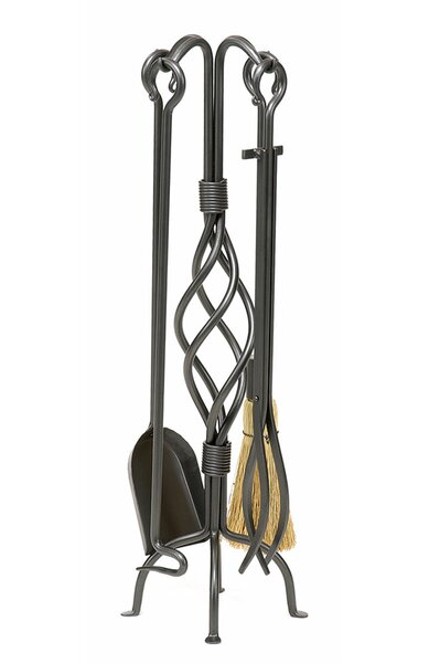 4 Piece Helix Wrought Iron Fireplace Tool Set by Minuteman International